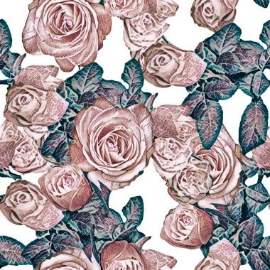 Beautiful roses pattern. Seamless background