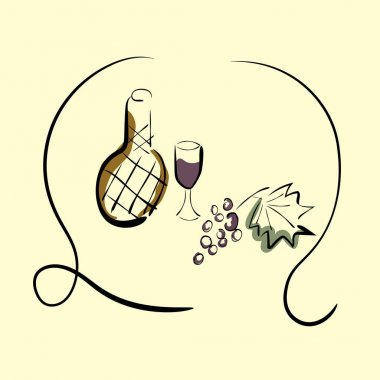 Drawing of wine, grapes and a glass. Italian wine.