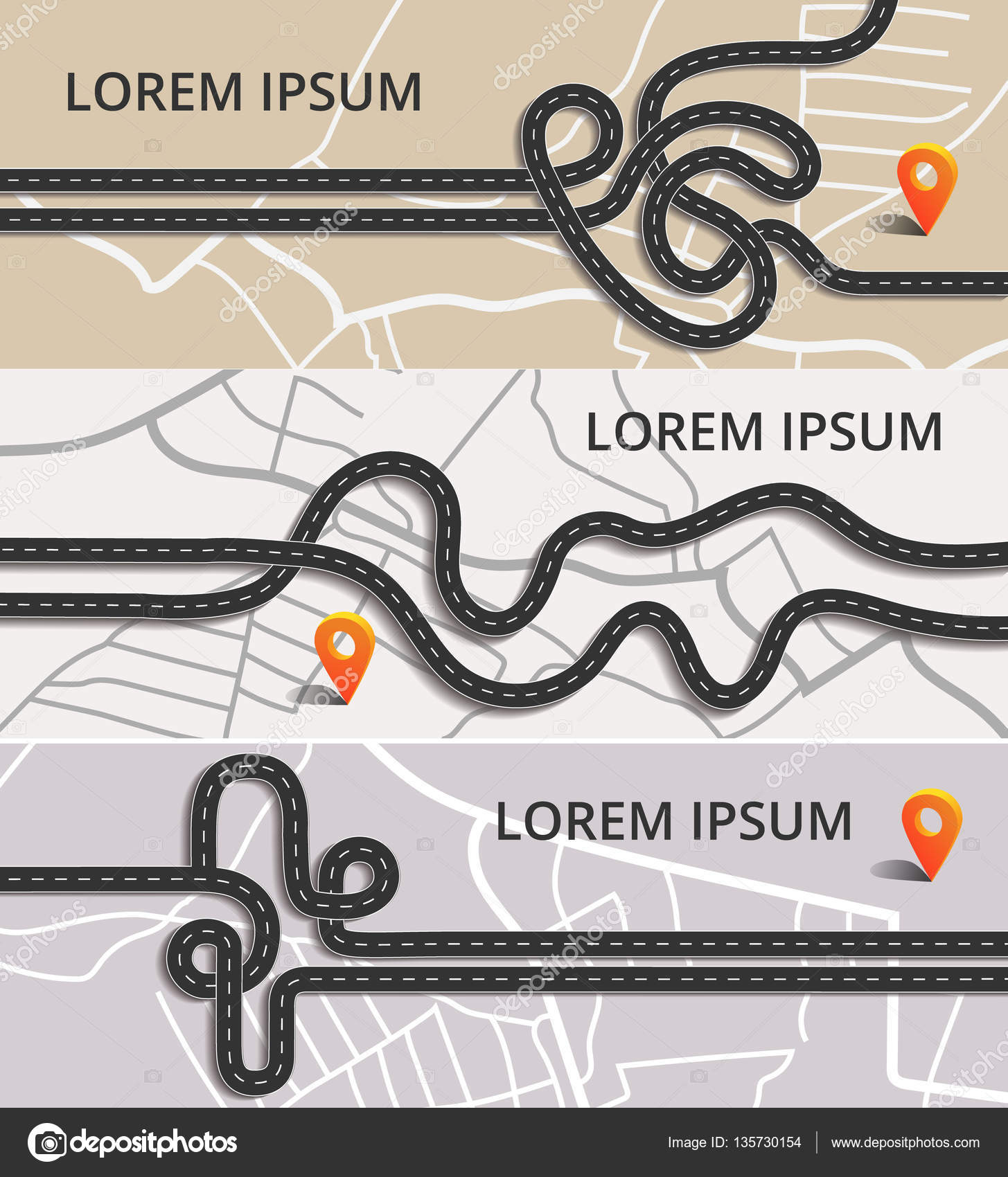 Three horizontal banners with winding roads on the city map with