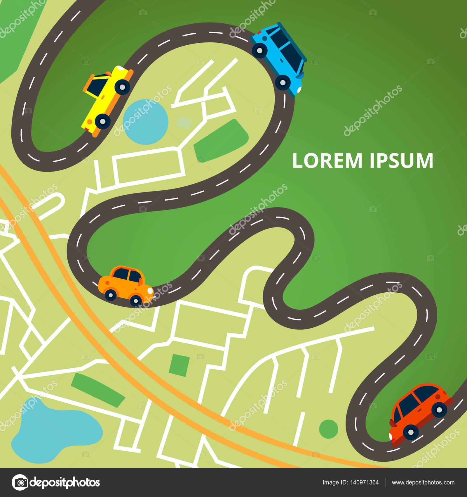 Plan de la ville vue de haut avec une route sinueuse et beaucoup de voitures color es - Voiture vue de haut ...