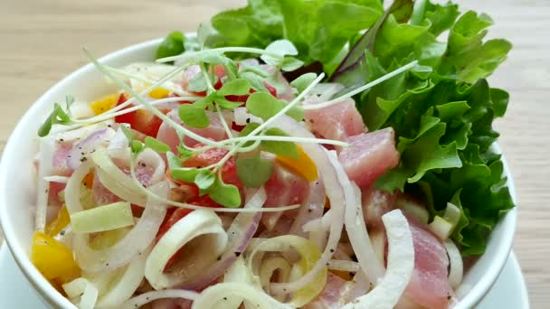delicious salmon and tuna salad, video