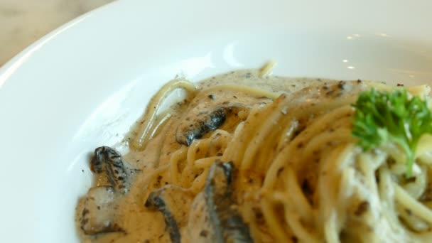 delicious pasta with mushrooms and cheese, traditional Italian cuisine