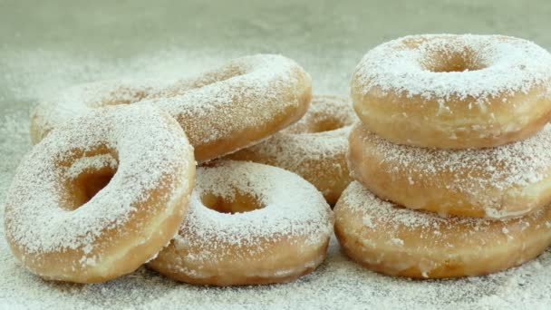 sweet homemade donuts with icing sugar on top