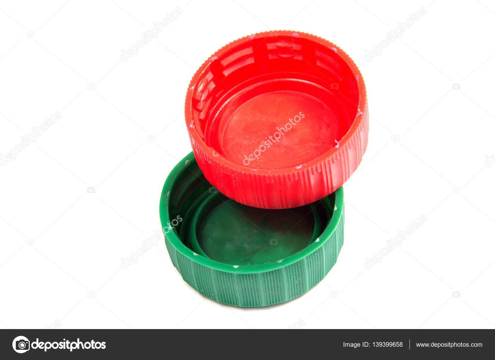Tapas de botellas de plástico colorido aisladas sobre fondo blanco — Fotos  de Stock 13fe16d6e7a1