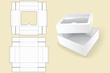 Box template. Packaging. White Cardboard Box. Vector illustration. Opened White Cardboard Package Box.