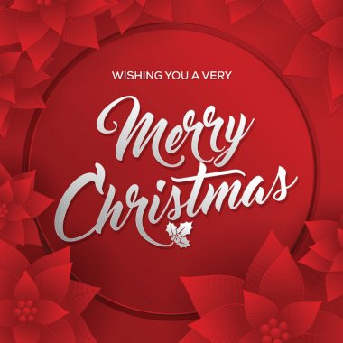 Merry Christmas. Card. Happy New Year. Red Background. Christmas Flowers.
