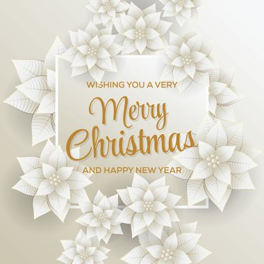 Merry Christmas. Happy New Year. Card. White and Gold Background.