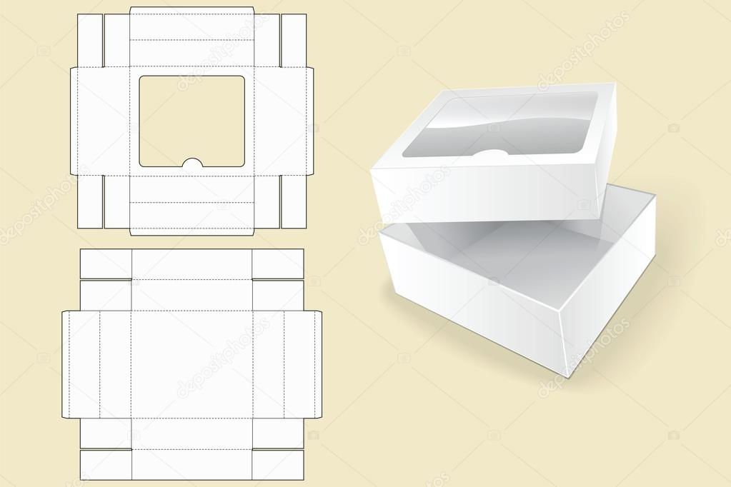 Box Template Packaging White Cardboard Box Vector Illustration