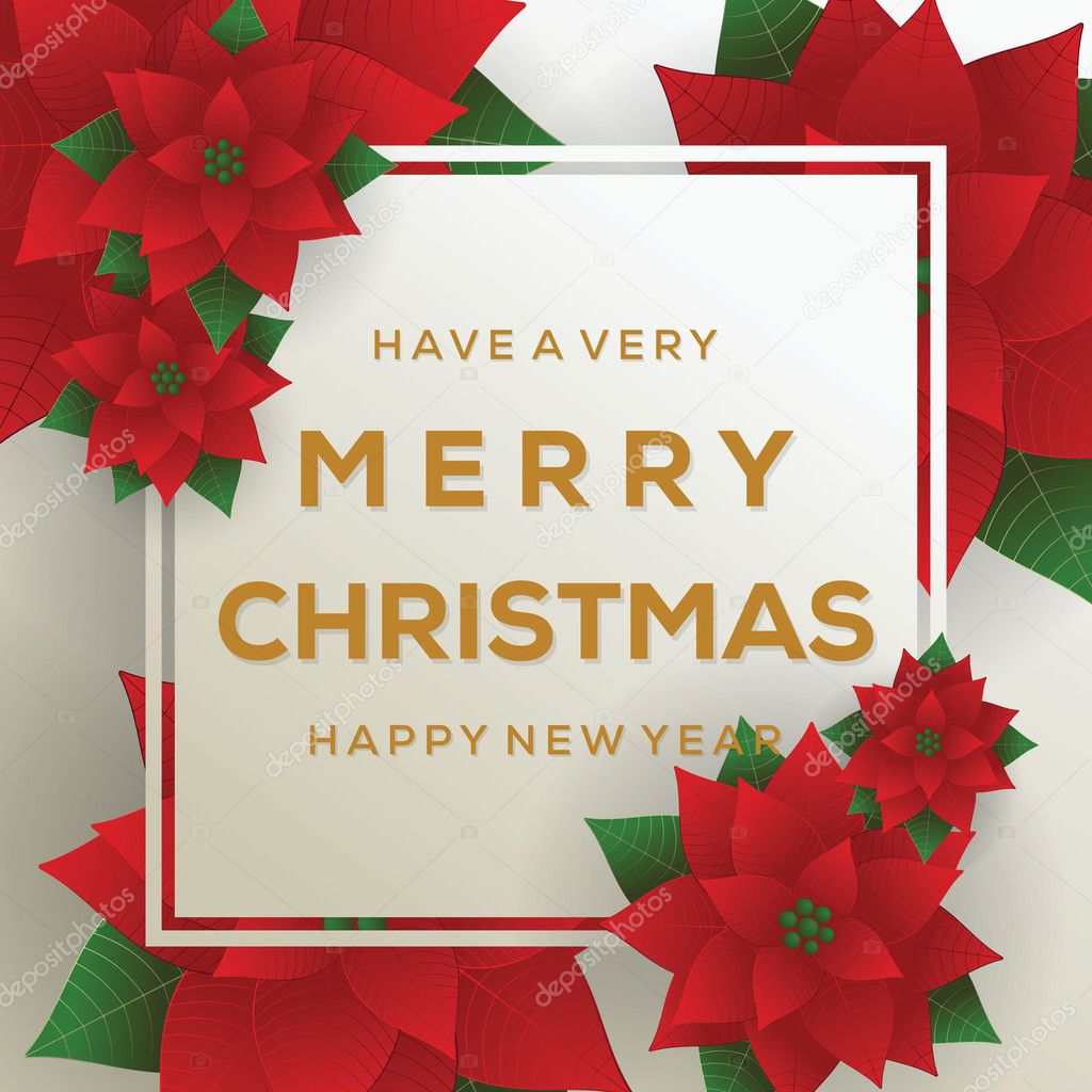 Merry Christmas Card Happy New Year Red Background Christmas