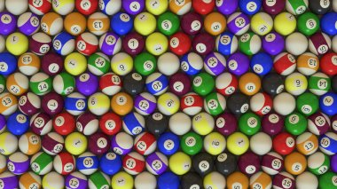 An Overhead Shot of a Large Array of Pool Balls