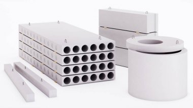 Set of reinforced concrete products on a white background. 3D rendering