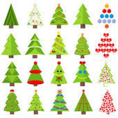 Fotografie Set of different Christmas trees. Can be used for greeting cards, invitations, banners. Funny Christmas tree with a face