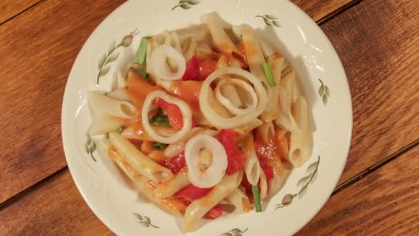 Pasta penne with vegetable sauce italian cuisine pasta dish pasta penne with vegetable sauce italian cuisine pasta dish stock video forumfinder Image collections
