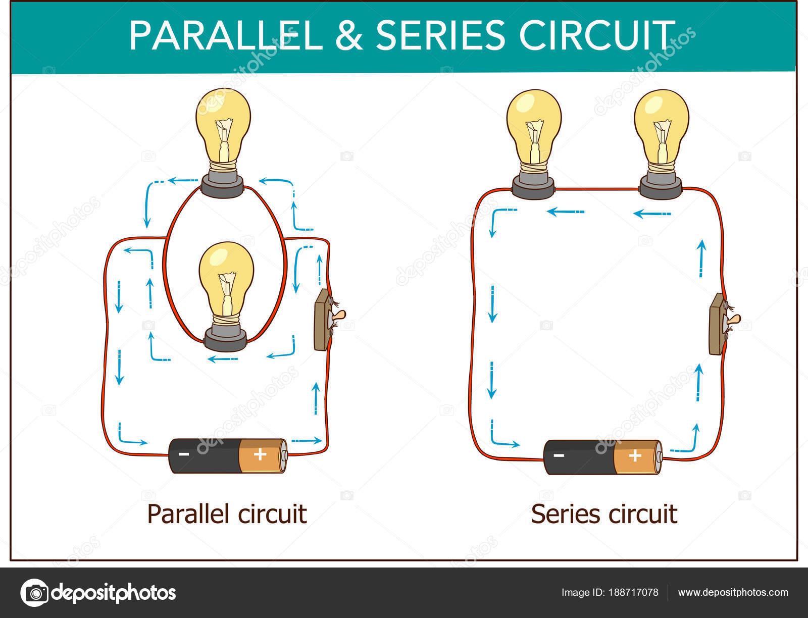 Circuito Serie Y Paralelo : Vector ilustración de una serie y circuitos paralelos u archivo