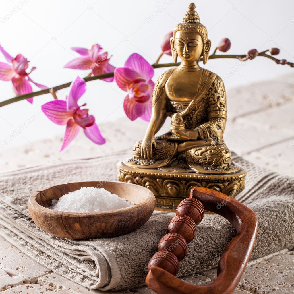spiritual inner beauty bath with buddhism, meditation and massage