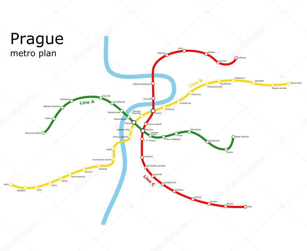 Prague Subway Transport Plan Stock Vector C Bombjack 129339996
