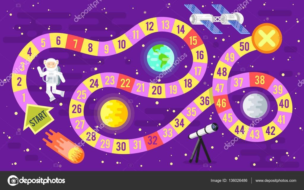 Ilustracion De Ninos Ciencia Y Espacio De Juego De Mesa Vector De