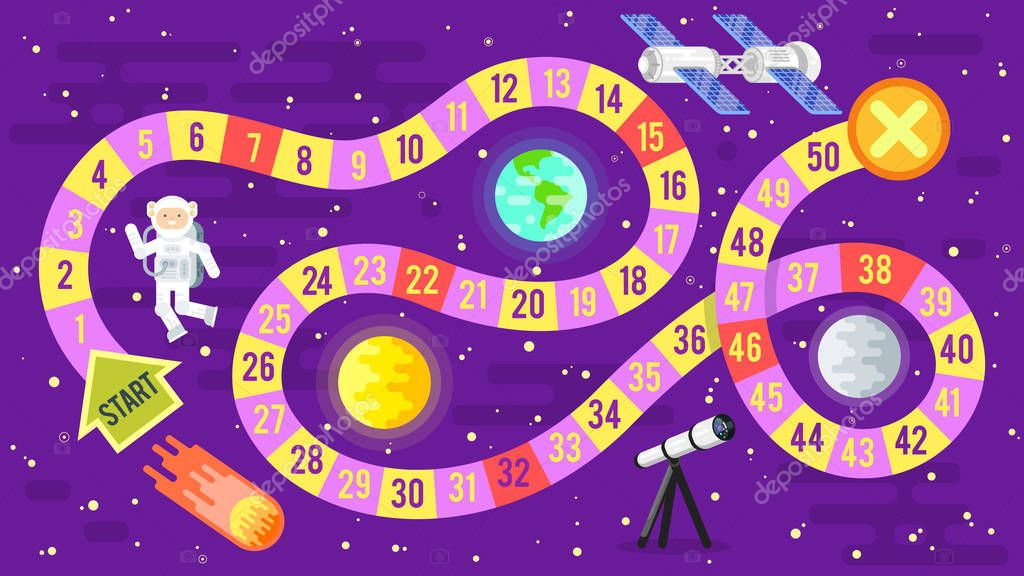 illustration of kids science and space board game.
