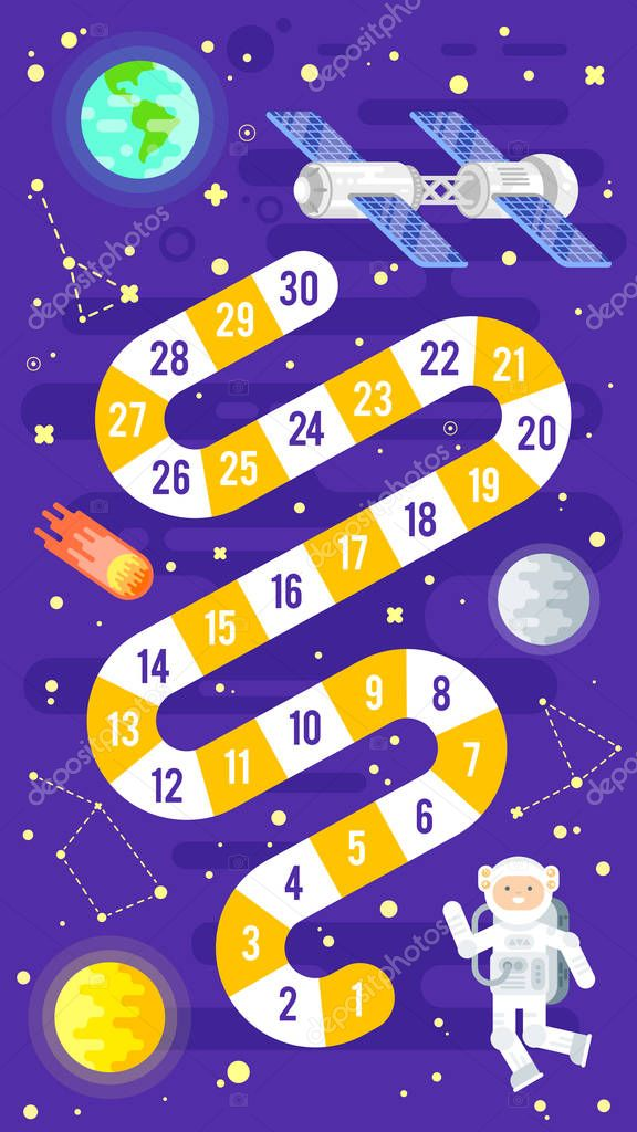 illustration of kids science and space board game