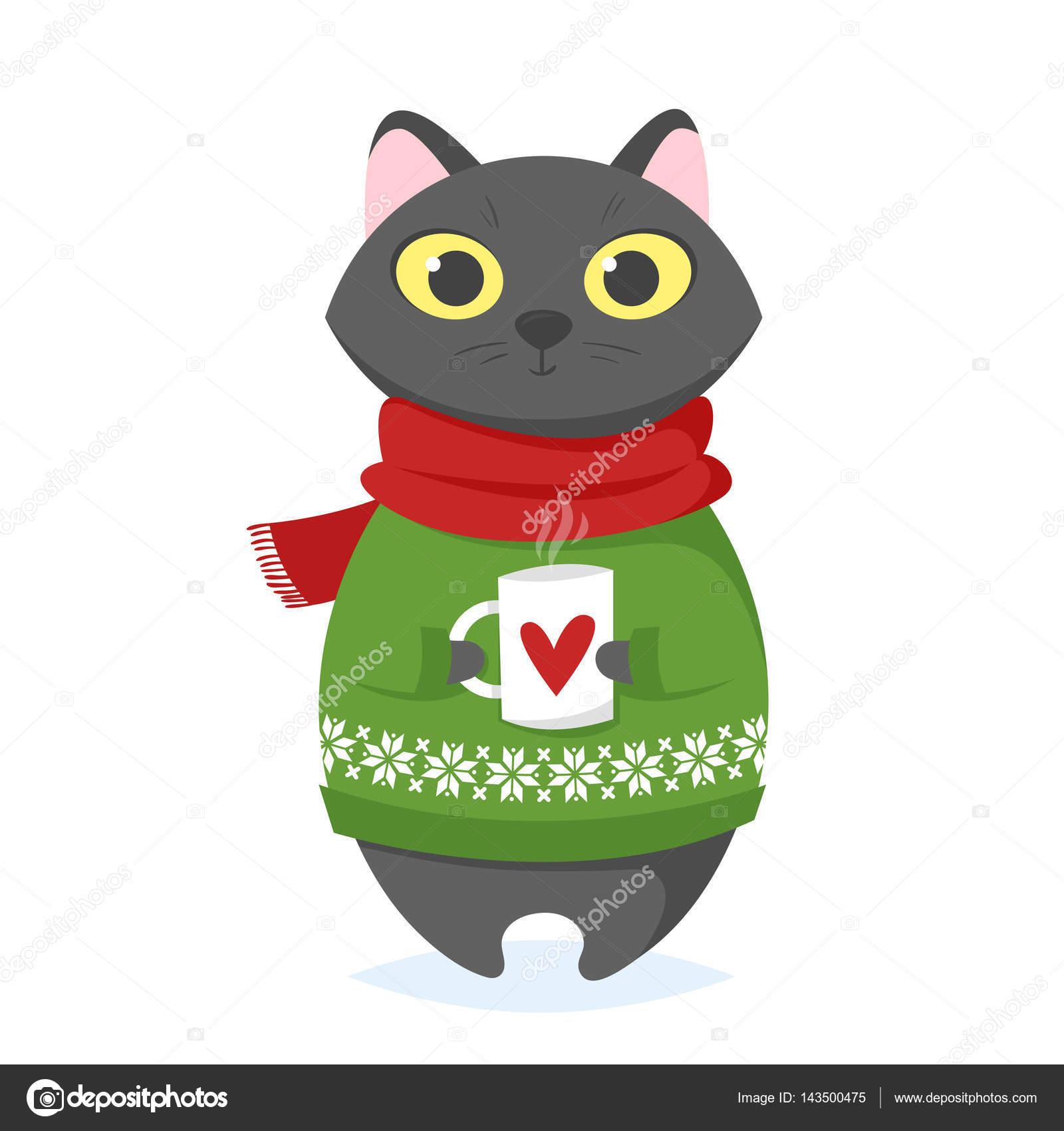 ベクトル漫画イラスト クリスマス カップと猫の ストックベクター