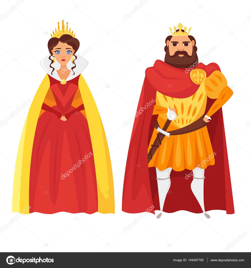 Imágenes Rey Y Reina Animados Ilustración De Estilo De Dibujos
