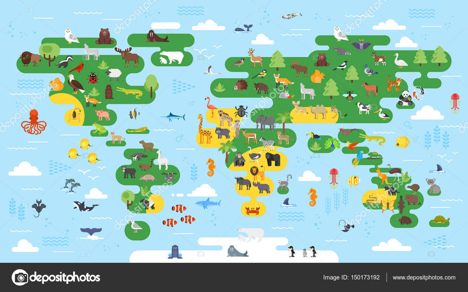 Vector flat style big abstract world map with animals stock vector flat style big abstract world map with animals stock vector gumiabroncs Images