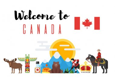 Vector flat style set of Canadian national cultural symbols.