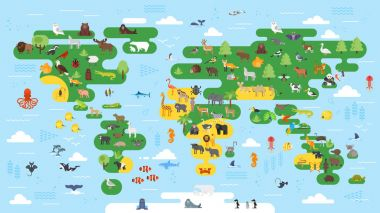 Vector flat style big abstract world map with animals.
