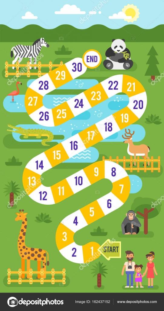 kids zoo animals board game template stock vector tkronalter9