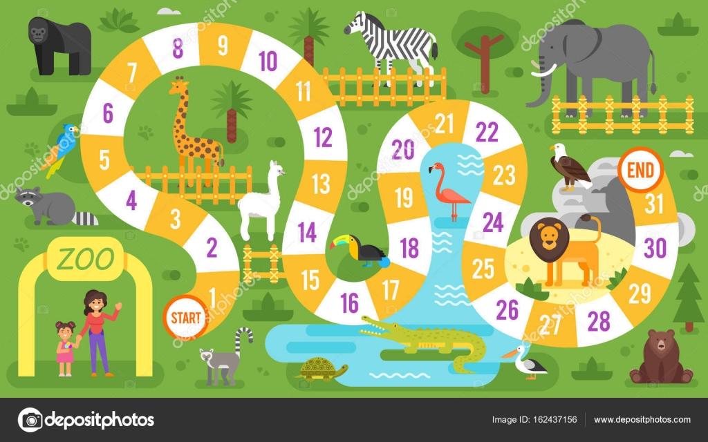 Kinder Zoo Tiere Brettspiel Vorlage — Stockvektor © tkronalter9 ...