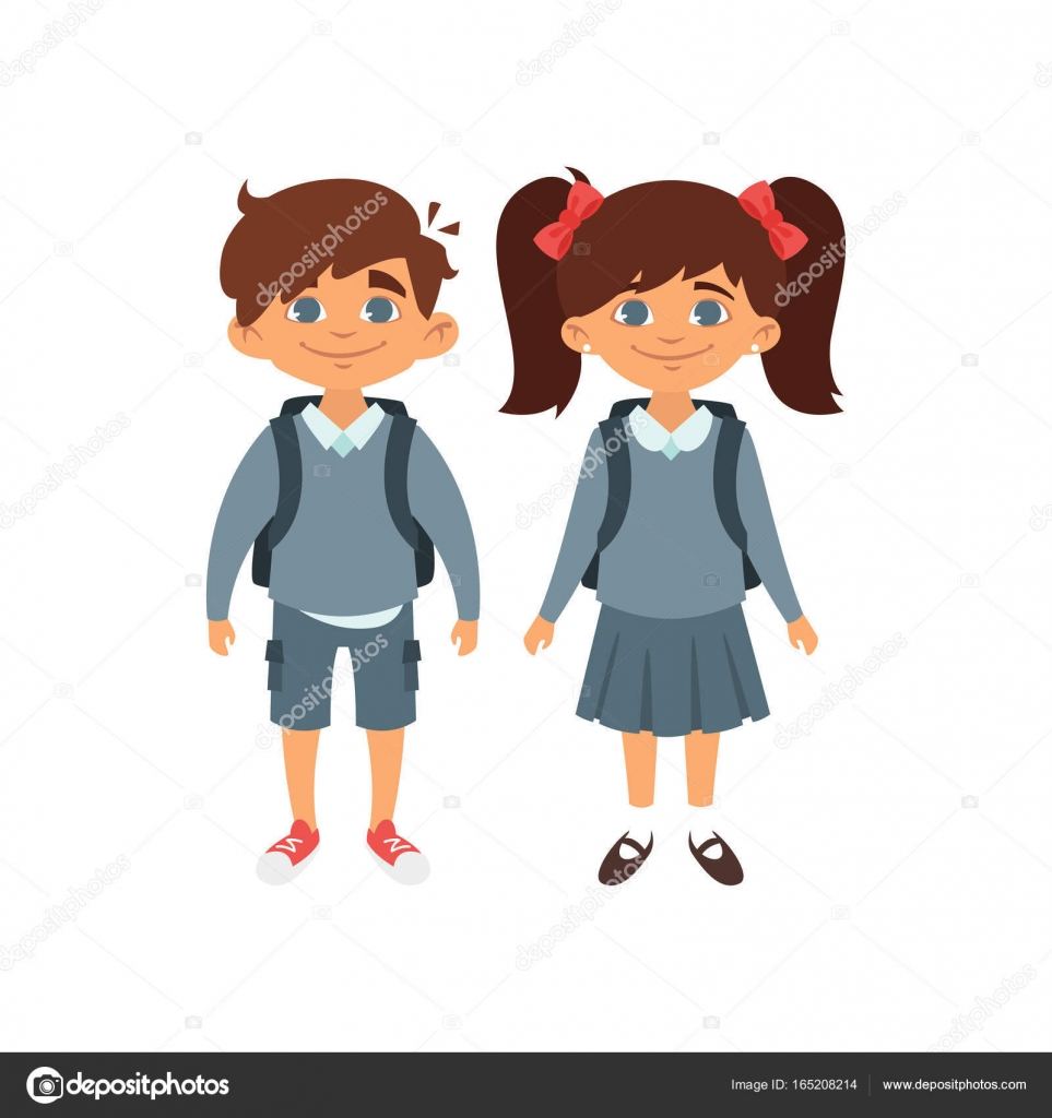 Boy And Girl In School Uniform Stock Vector C Tkronalter9 Gmail
