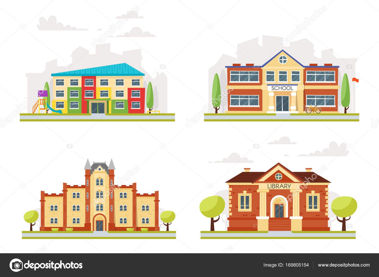 Diseño de edificios educativos | conjunto de edificios educativos ...