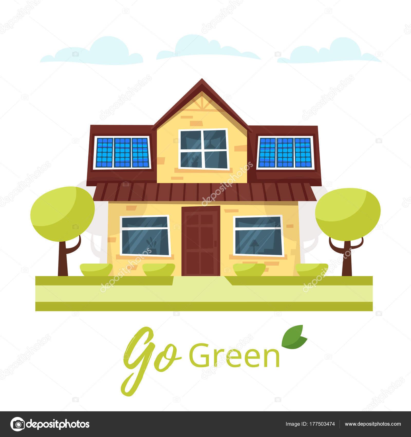 Casa ecol gica con paneles solares vector de stock for Placas solares precios para una casa