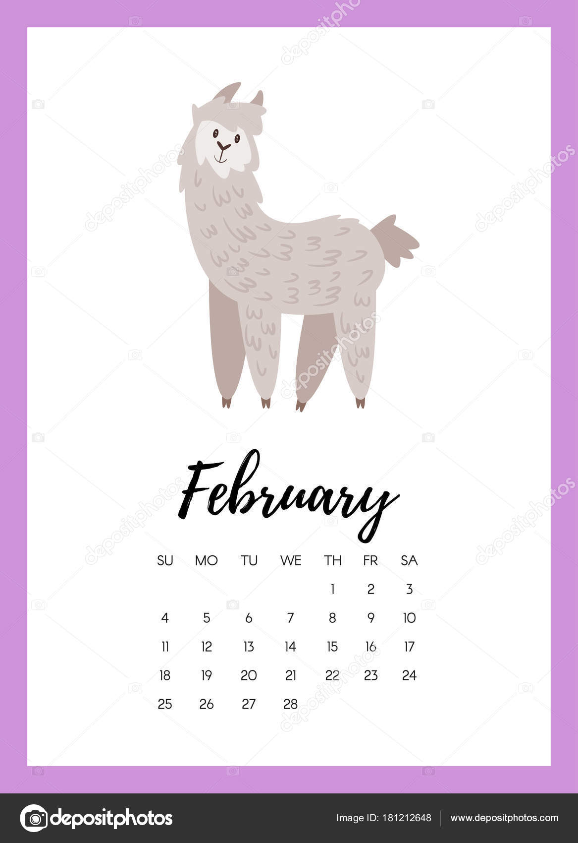 vector cartoon style illustration february 2018 year calendar page