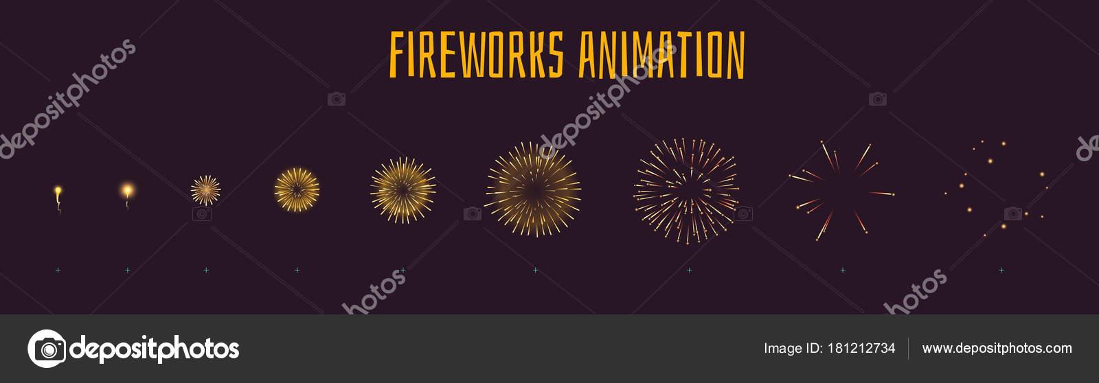 Sistema Estilo Dibujos Animados Vector Fuegos Artificiales Amarillo