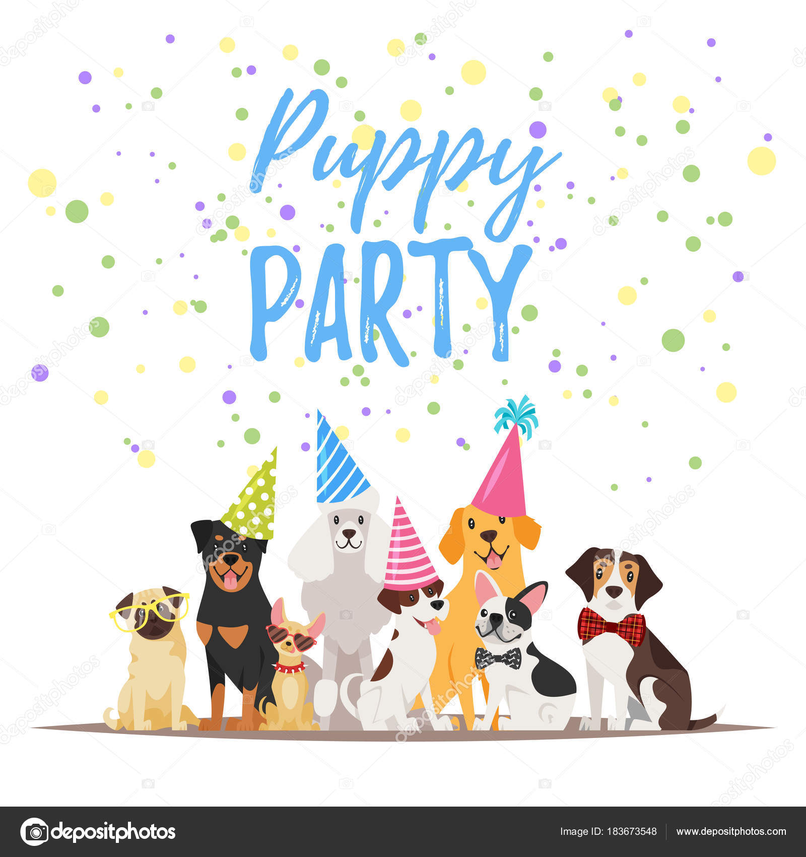 Dog birthday party greeting card stock vector tkronalter9 dog birthday party greeting card stock vector kristyandbryce Choice Image