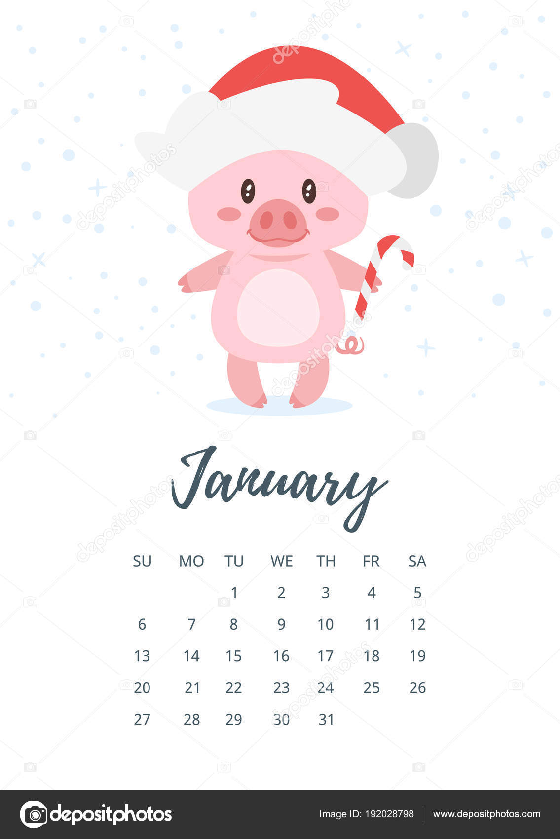 2019 年 1 月年間カレンダー