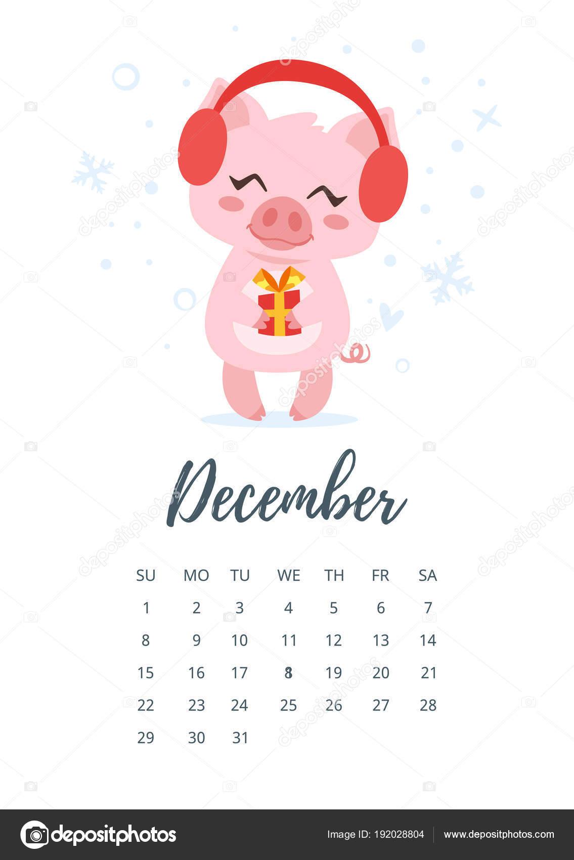 Calendario Dezembro 2019 Bonito.Pagina De Calendario Ano De Dezembro De 2019 Vetores De