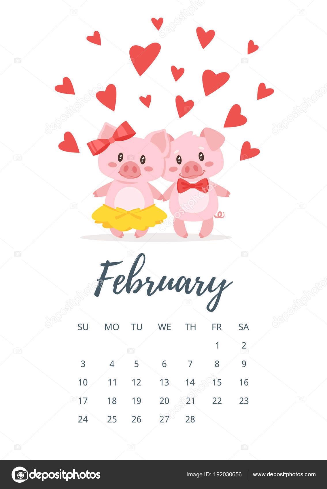 2019 februári naptár Évben 2019 február naptár oldal — Stock Vektor © tkronalter9.gmail  2019 februári naptár