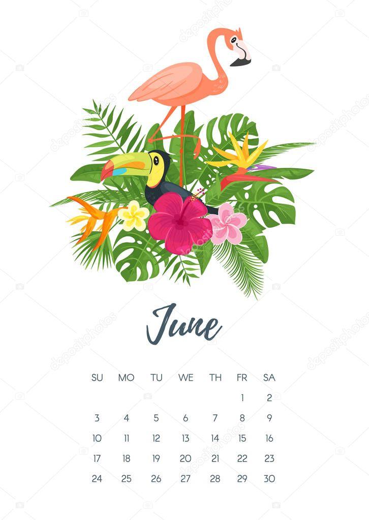 kalenderblatt juni 2018 jahr  u2014 stockvektor  u00a9 tkronalter9