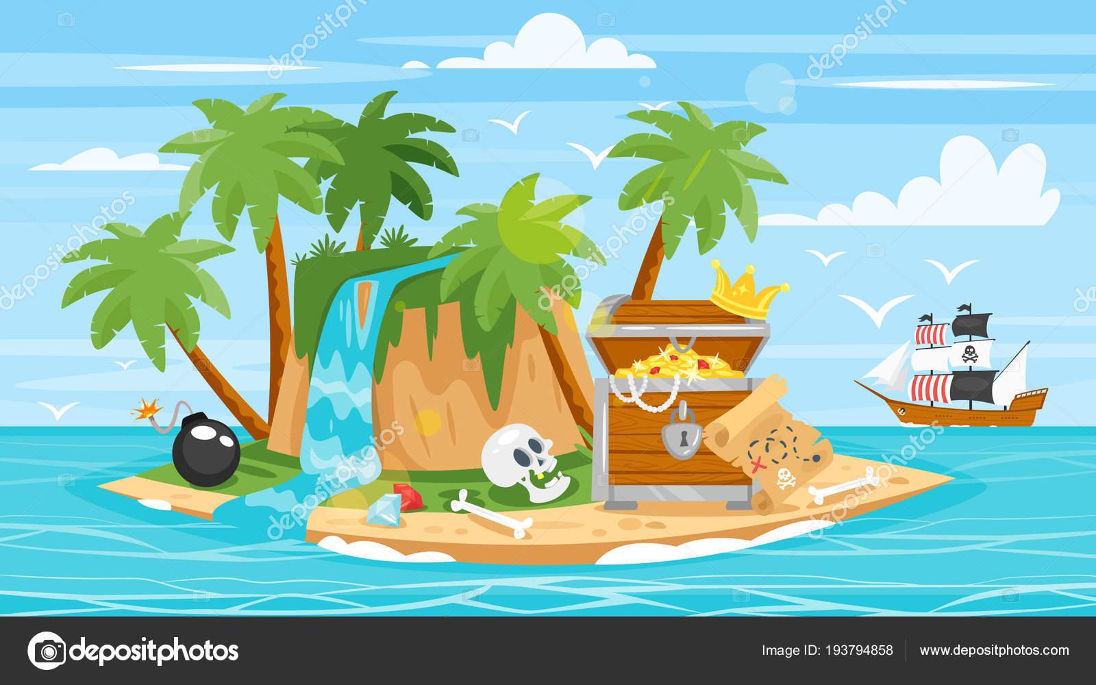 barco pirata, isla, tesoro — Vector de stock © tkronalter9.gmail.com ...