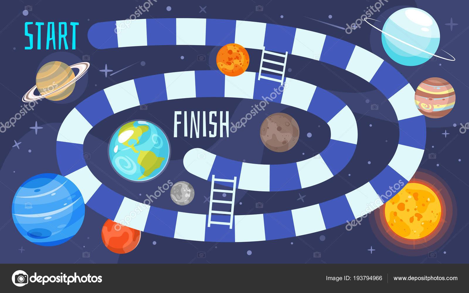 Kinder Space Brettspiel Vorlage — Stockvektor © tkronalter9.gmail ...