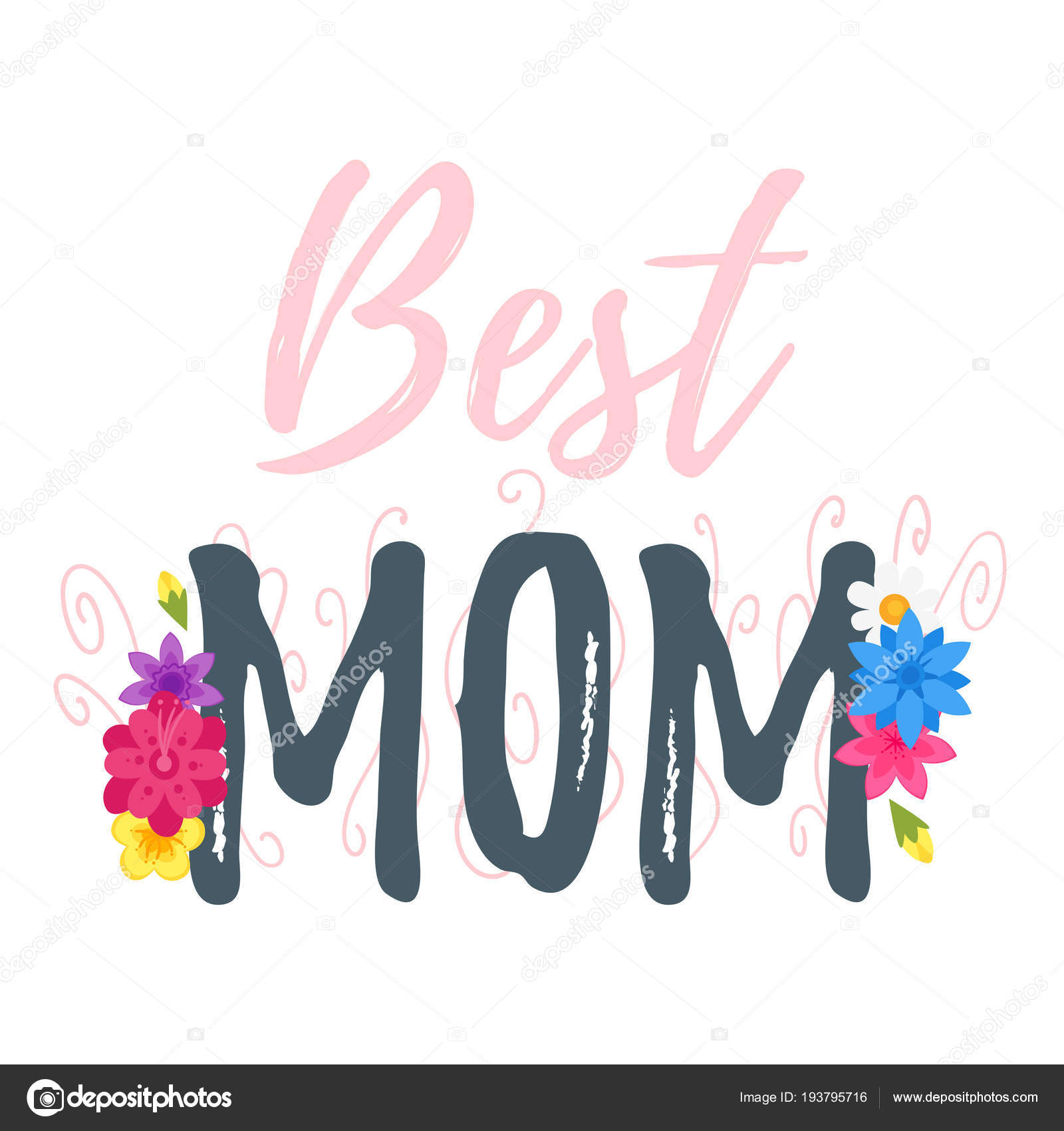 Vector Cartoon Style Template For Mothers Day Greeting Card With Holiday Symbols Flowers