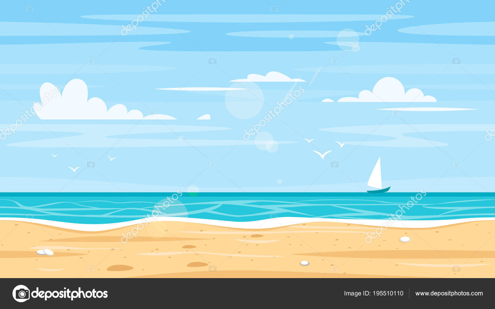 baf5194c2736c Seamless landscape with sea shore — Stock Vector © tkronalter9.gmail ...