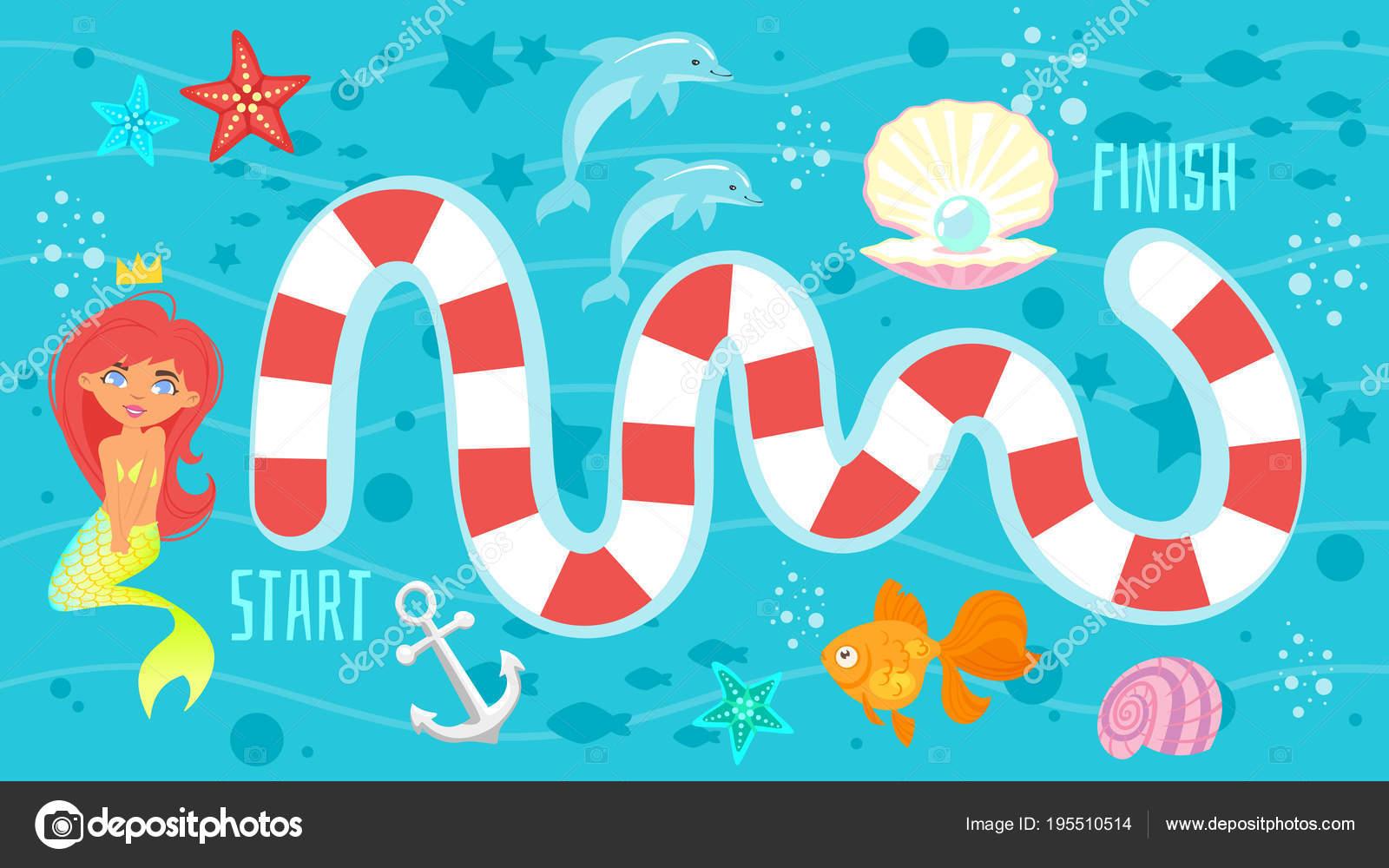 Brettspiel Vorlage mit Meerjungfrau — Stockvektor © tkronalter9 ...