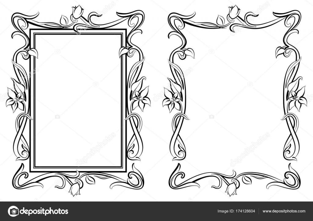 Dekorative floral Umriss Rahmen — Stockvektor © oleksandrmazur88 ...