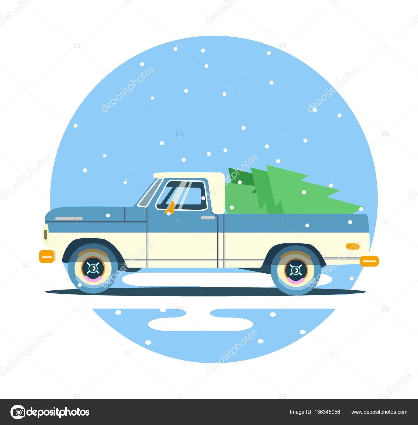 Vector Modern Retro Pickup Tourism Design Travel By Flat
