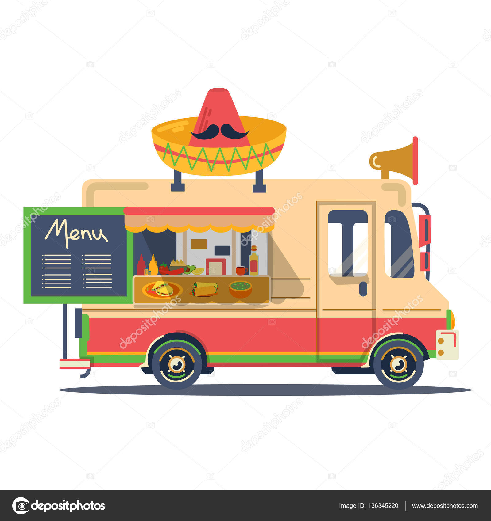 Vector Retro Vintage Mexican Flat Food Truck Stock