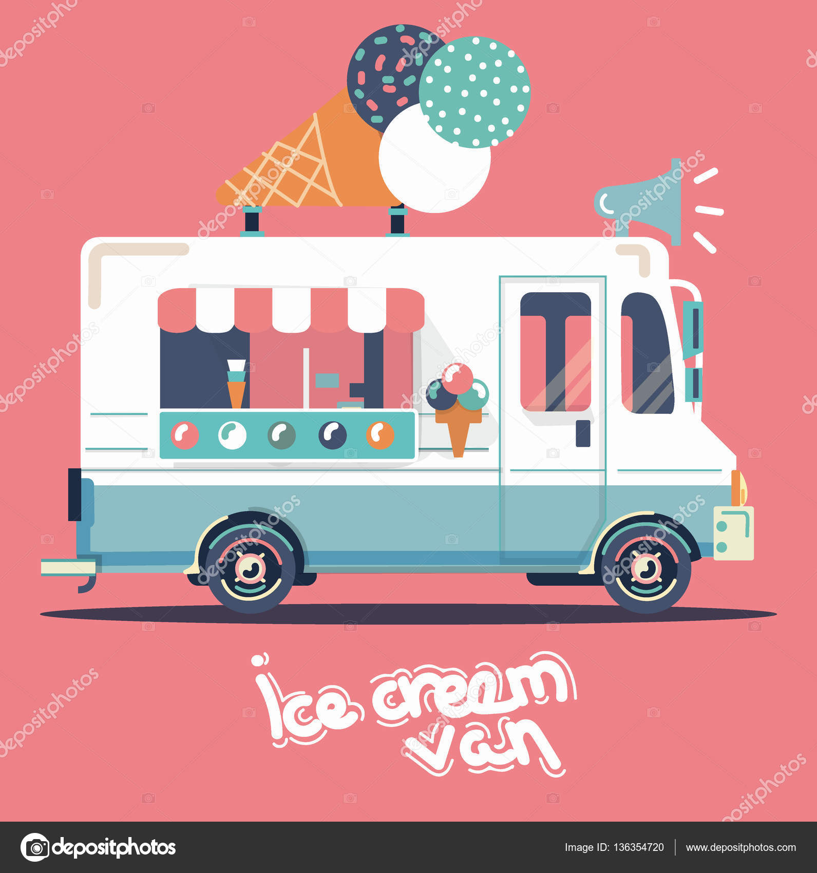 Vector Van Illustration Retro Vintage Ice Cream By 13margarita93gmail