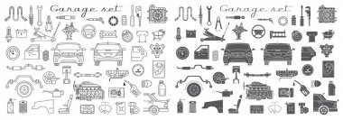 garage set of car parts